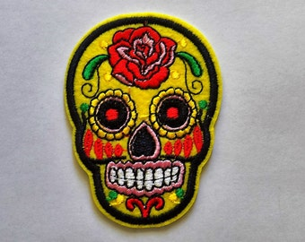 Embroidered Sugar Skull Patch - Iron or Sew On Applique /Sew on Patch  - #SP-00013