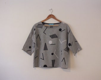 New Handmade Top / Grey Fabric with Geometric Shapes