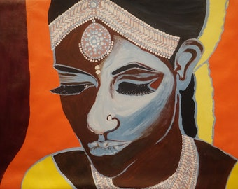 ORIGINAL Painting, Art Painting Acrylic Painting Abstract Painting, Indian Bride