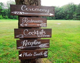 One Wedding Arrow Directional Sign- Wedding Arrow Sign- Rustic Wedding Sign- Woodland Wedding Sign - Boho Wedding Sign - Bohemian Wedding
