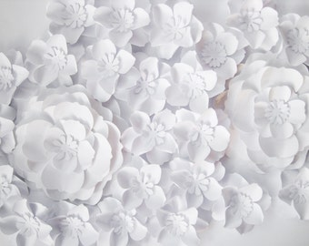 27 White Paper Flowers Backdrop, Small Paper Flowers, Wedding Arch, Big Paper Flowers, Wall Paper Decor, Table Centerpiece, Party Favors