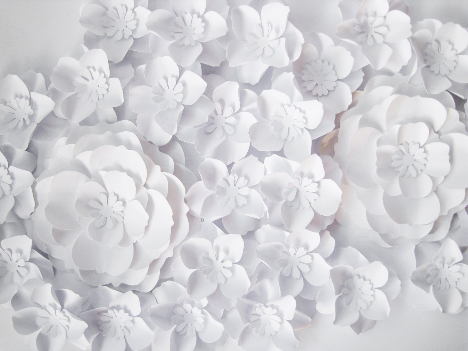 27 White Paper Flowers Backdrop Small Paper Flowers Wedding Arch