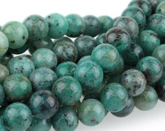 Round Cuprite Gemstone Beads, Teal and Blue Stone Beads, Stone Mala Beads, Natural Cuprite Beads, Beads For Malas, 8mm - 20 beads (ST-85)