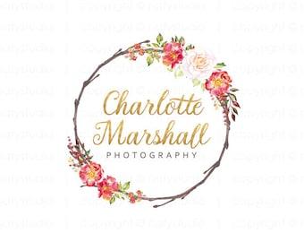 Rose logo gold logo boutique logo wreath flower logo floral logo design premade logo design photography logo watercolor logo