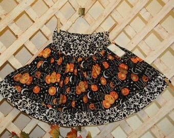 Halloween girly skirt,drop waist,size 7,black and white