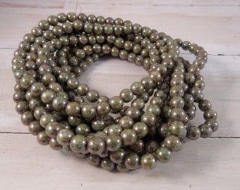 PINE ROUNDS 6mm Sage Green Picasso Czech Glass Round Beads - Qty 40 P-009