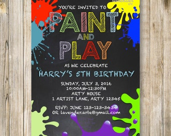Chalkboard ART Birthday Invitation, Paint and Play Invite, 5th Birthday Invites, Kids Art Party, Colorful Painting Party, 6th Birthday LA014