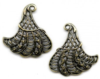 Oxidized yellow brass stamped filigree from Germany 22mm 1 pair. B9-2071(e)