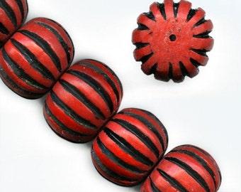 Carved cinnabar red on black pumpkin shape bead. 15x20mm. Pkg of 1. b7-cin211(e)