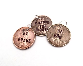 Hand-Stamped Copper Penny Necklace Charm