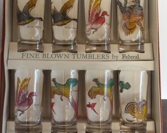 Mid Century Federal Glass Co. Wild Bird glass tumbler set of 8 New in Box