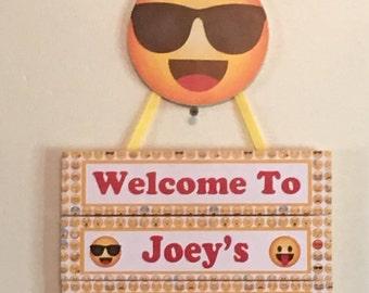 Sunglasses Emoji Birthday Door Sign