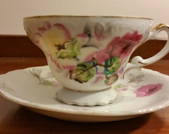 Pink and Yellow Floral Teacup and Saucer Set