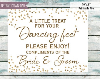 "Wedding sign, A little treat for your dancing feet, flip flop sign, wedding shoes, wedding signs 10"" x 8""  - INSTANT DOWNLOAD"