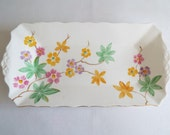 Vintage Sandwich Plate, By Tuscan Plant. Rectangular Cake Plate or Serving Platter, 1930s Hand Painted Flowers. Perfect For A Tea Party