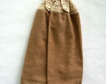 Crochet Towels, Crochet Top Towels, Hanging Towel, Crochet Tea Towels, Button Top Towels, Brown, Topper Towel, Crocheted Towels, Tea Towel