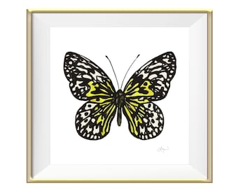 Black and White Butterfly Watercolor Art Print - Beautiful Home Decor Piece