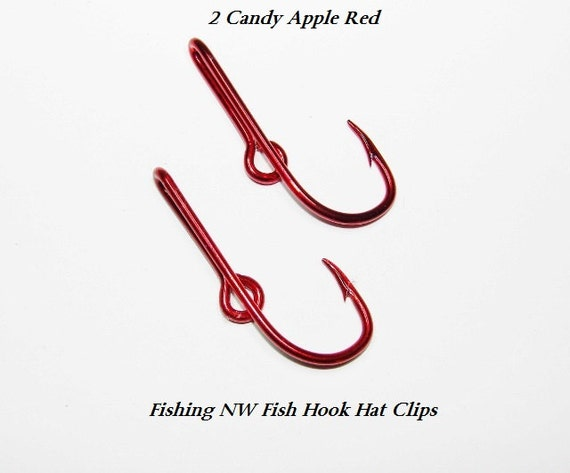 2 candy apple red colored fish hook hat clips pins by for Fish hook for hat