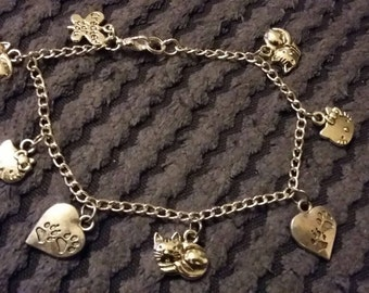 "Handmade charm bracelet - love cats ('antique silver"")"