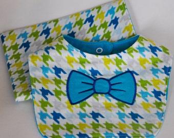 Baby Bib and Burp Cloth Set, Baby Boy Cloth Set.