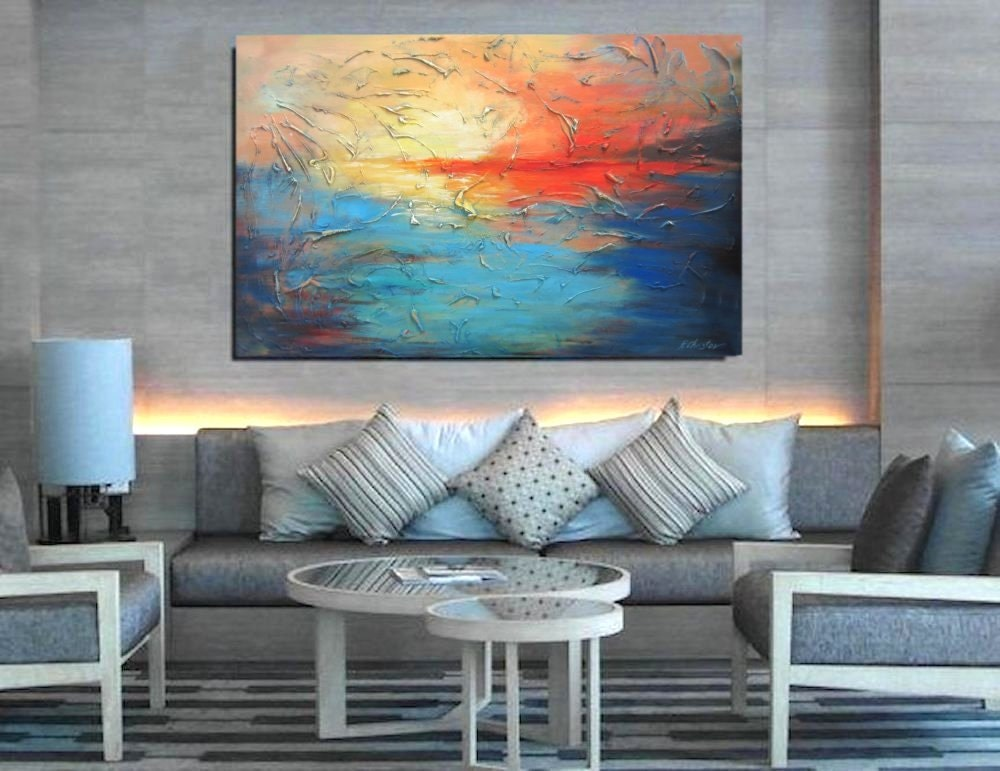 Extra large art blue and orange canvas art wall art by for Orange wall art