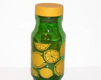 Vintage Libbey Green Glass Juice Carafe/Pitcher With Yellow Lid, Vintage Libbey Glassware, Vintage Kitchen Decor, Storage