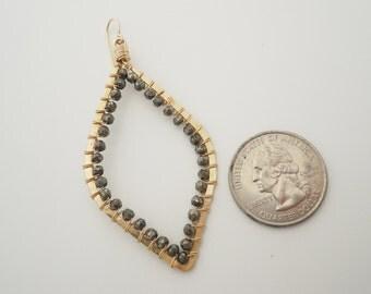 Pyrite Wirewrapped Goldfilled leaf Shape Hoops.