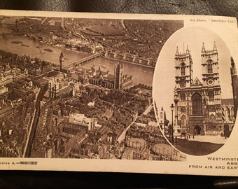 Vintage Postcard - Westminster Abbey from air and earth