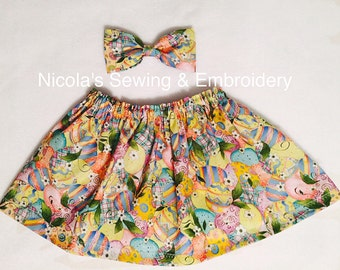 Baby Girl Easter Skirt  & Bow, Green pink Skirt, Green pink Bow, Nicola's Sewing, Gift
