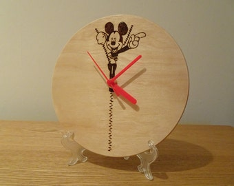 Mickey Mouse hand engraved wooden clock