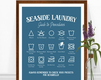 Beach House Print, Beach Sign, Laundry Room Art, Laundry Symbols, Beach House Decor, Seaside Laundry Print