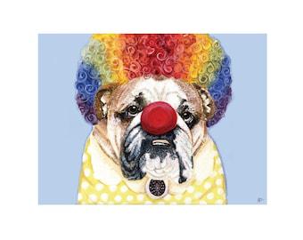 Hand Painted Acrylic Clown Bulldog Limited Edition Print