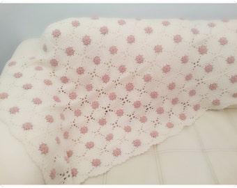 Crochet Blanket, Crochet lap Blanket, Crochet Afghan, Granny Square Blanket, Cream and Rose Blanket