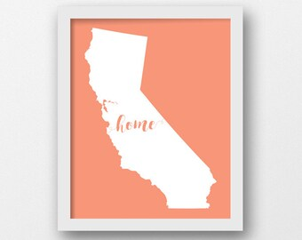 California Nursery Art, Home in California, Coral, California Nursery Print, Baby Shower, California Baby Gift, Nursery Wall Art (1011CAa)