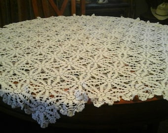 Hand Made 60 Inch Choched Table Cloth..White..Damage Free
