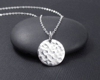 Hammered Disc Necklace Sterling Silver Hammered Circle Necklace, Modern Necklace, Simple Necklace