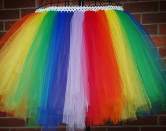Girl's Rainbow Tutu, Baby Rainbow Tutu, Costume Tutu, First Birthday Tutu Dress, Clown Tutu, Rainbow Dress, Toddler Tutu, Circus Tutu Skirt