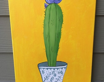 12x16 Acrylic Cactus Painting