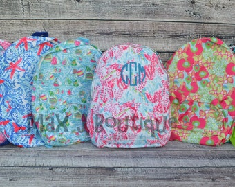 Personalized Bookbag - Lilly Pulitzer Inspired Backpack - Monogrammed Book bag
