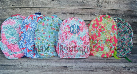 personalized bookbag lilly pulitzer inspired backpack