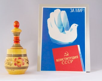 "Vintage original Poster from Soviet Union ""For peace: Constitution of USSR """