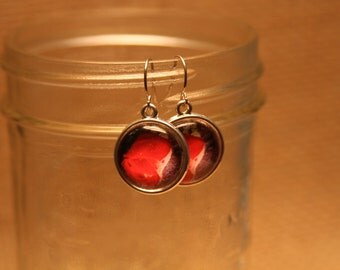 Silver Toned Dangle Earrings - Red Roses