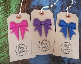 Birthday Gift Tags, Origami Bows, Mixed Pack of Three, Blue, Purple, Fushia Pink