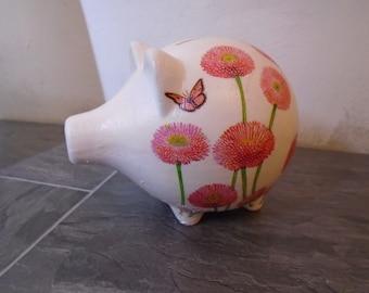 Floral Piggy Bank, Money Box, Piggy Bank, Coin Box