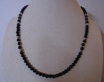 Mens Black Onyx Necklace, Mens Black Beaded Necklace.