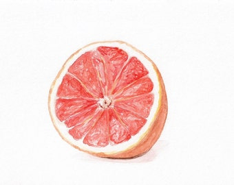 Grapefruit Art PRINT, Kitchen Decor, Dining Room Art, Restaurant Art, Kitchen Wall Art, Food Painting, Food Illustration, Fruit Painting