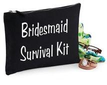 Make Up Bag Wedding Gift Cosmetic Canvas Bag Bridesmaid Survival kit Novelty Funny Gift Black Accessory Bag