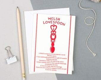 Welsh Gifts - Welsh Card - Welsh Love spoon - Wales -  Welsh Valentines Day Card - Welsh Birthday Card - Welsh Art - Welsh Card