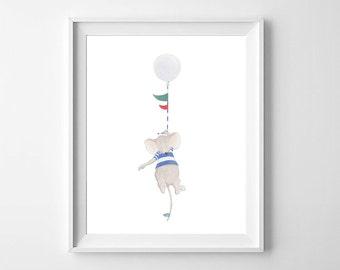 Mouse Nursery Wall Art,Nursery Decor,Boys Nursery Art,Mouse Boys Nursery,Baby Boy Room,Balloon Nursery Art,Boys Room Decor,Pirate Boys Room