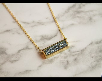 "Gold plated druzy necklace ""Sacha"""